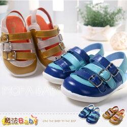 魔法Baby~【KUKI酷奇】真皮製造扣環飾涼鞋/寶寶鞋/男童鞋(藍.黃)~sh2549
