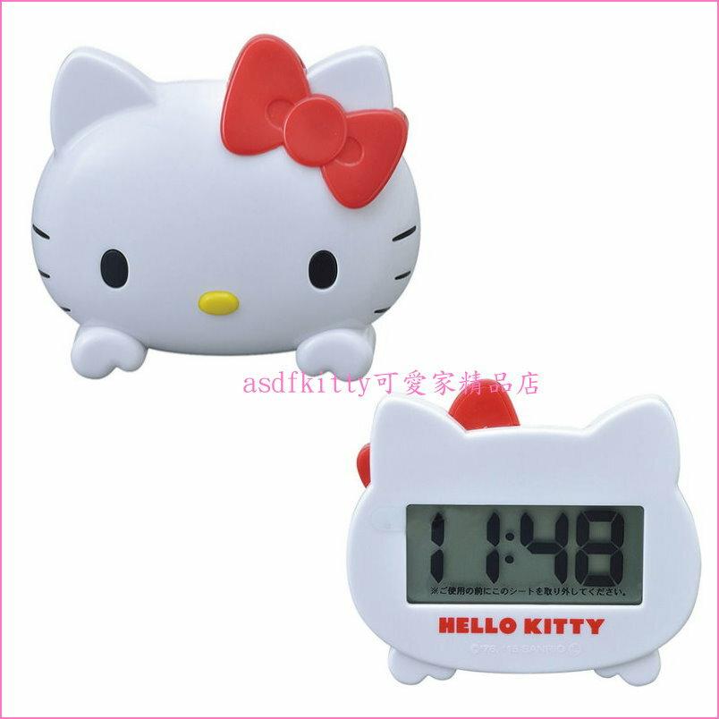 asdfkitty可愛家☆KITTY大臉型車用大數字電子時鐘-也可當桌鐘-日本正版商品
