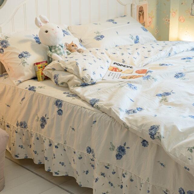藍莓花園  雙人加大鋪棉床裙三件組 100%精梳棉 台灣製 7