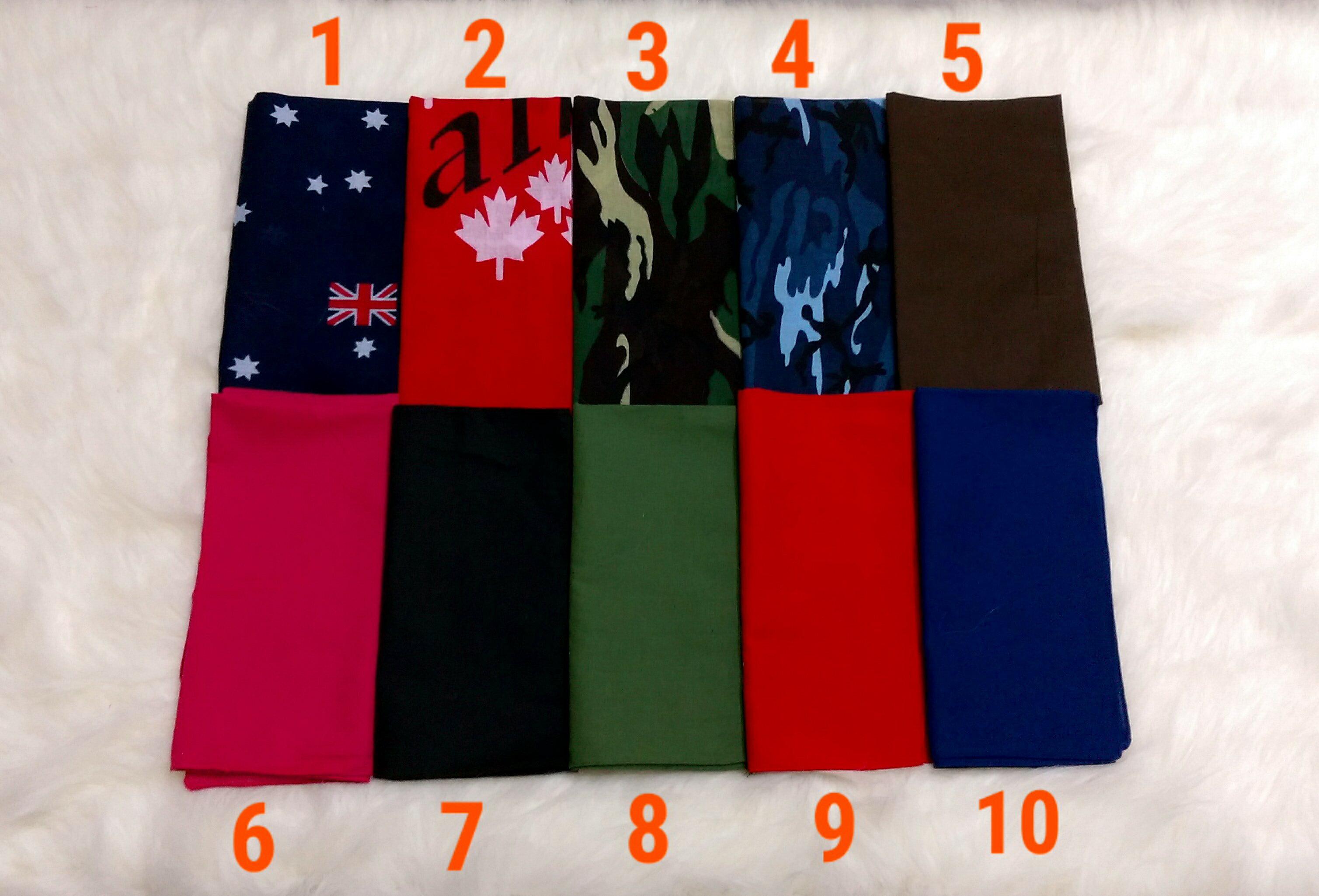 《喨晶晶生活工坊》方巾系列_頭巾可當領巾 嘻哈街舞 自行車隊 團體體操 餐飲業$50元