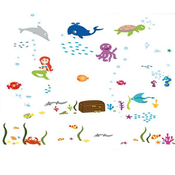 BO雜貨【YV1657-1】新款壁貼無痕創意壁貼浴室佈置熱鬧海底生物海底世界水族美人魚DF5077