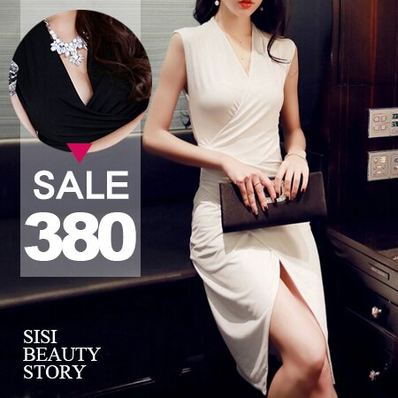 SISI【D6101】性感夜店v領皺褶修身顯瘦無袖包臀開叉連身裙洋裝