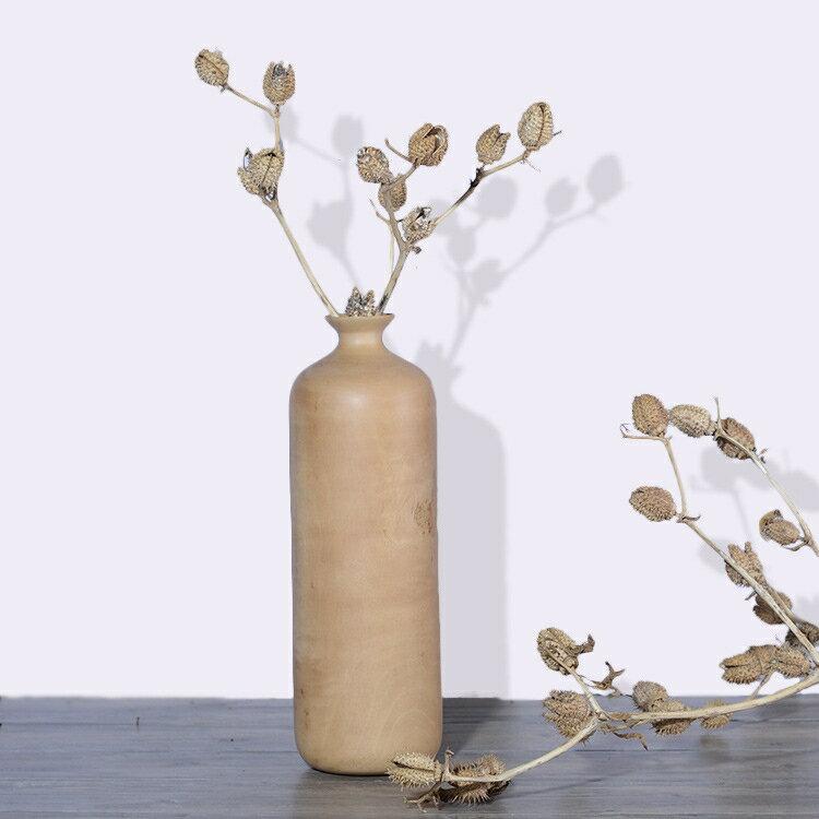 泰國實木花瓶擺件現代簡約家居裝飾品客廳擺設創意花瓶干花插花器1入