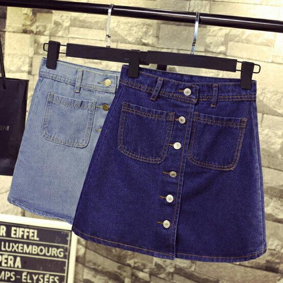 牛仔短裙 - 韓版高腰顯瘦五釦A字單寧短裙【23268】藍色巴黎《2色》現貨+預購 0