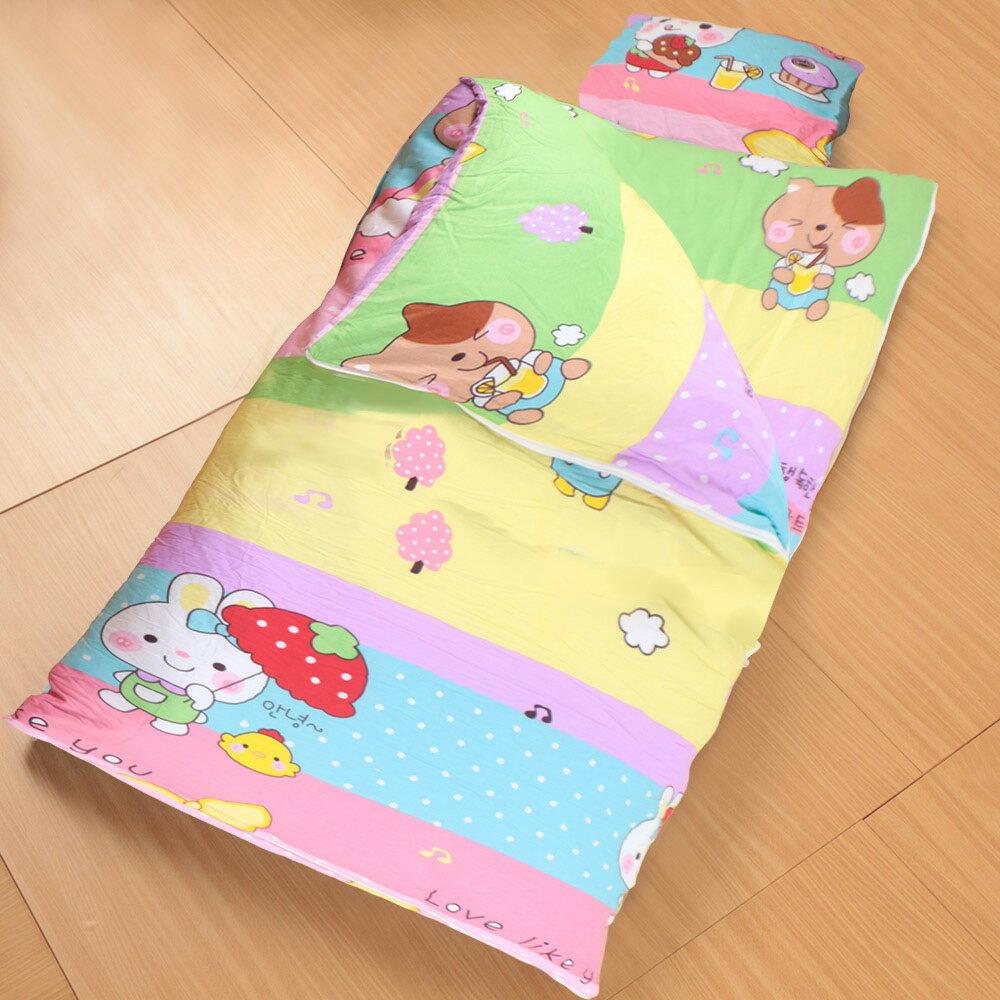 床之戀嚴選 純棉被套可拆式被胎四季兒童睡袋毯附枕心~快樂動物園(MJ0540)