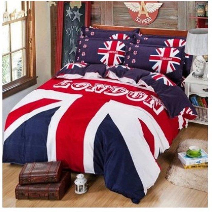 歐洲風 新款☆BD0007☆大不列顛日不落風格 英國國旗夏季專用四件套 (床包款)