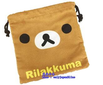 【真愛日本】16062100003束口袋-拉拉熊大臉  SAN-X 懶熊 奶妹 奶熊 拉拉熊 束口袋 收納袋 生活雜貨
