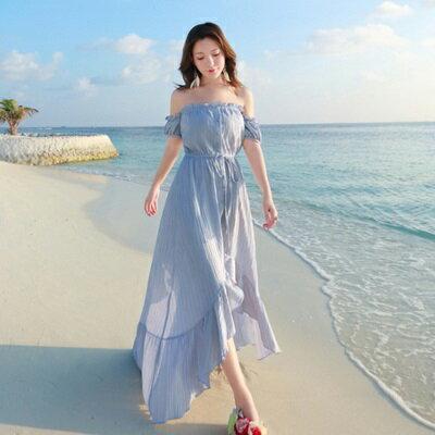 波希米亞長裙-一字領露肩下擺前短後長連衣裙2色73sg75【獨家進口】【米蘭精品】