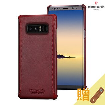 MEEKEE SHOP:[SamsungNote8]PierreCardin法國皮爾卡登6.3吋簡約不敗款真皮手機殼紅色