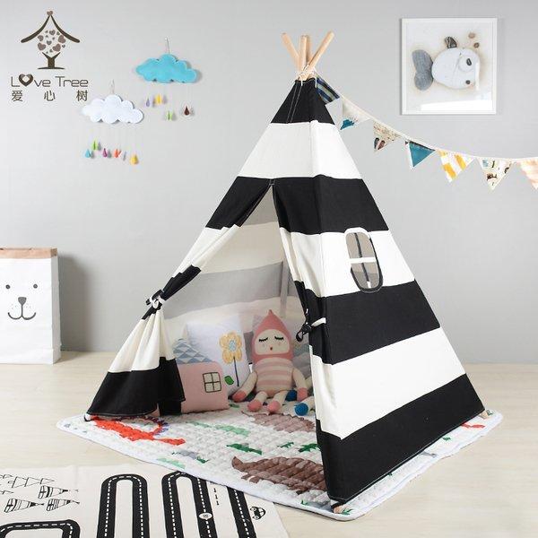 =優生活=『夏日野餐季免運優惠』韓國黑白條紋純棉寶寶帳篷 寶寶嬰兒遊戲屋 野餐帳篷 野餐墊 兒童拍攝道具