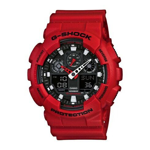 CASIO G-SHOCK GA-100B-4A經典紅流行腕錶/黑面51mm