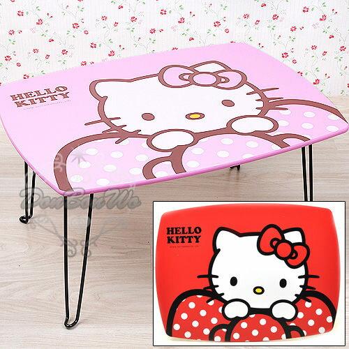 KITTY桌子餐桌木桌可收折疊長桌粉紅蝴蝶結958828紅958835海渡 居家小物