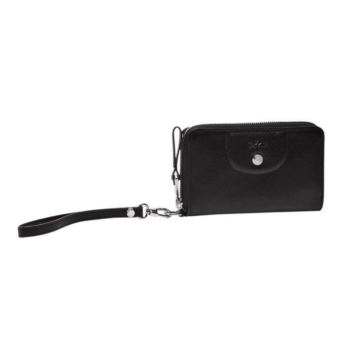 【LONGCHAMP】 Le Pliage Cuir系列小羊皮手拿/零錢包(黑) 1