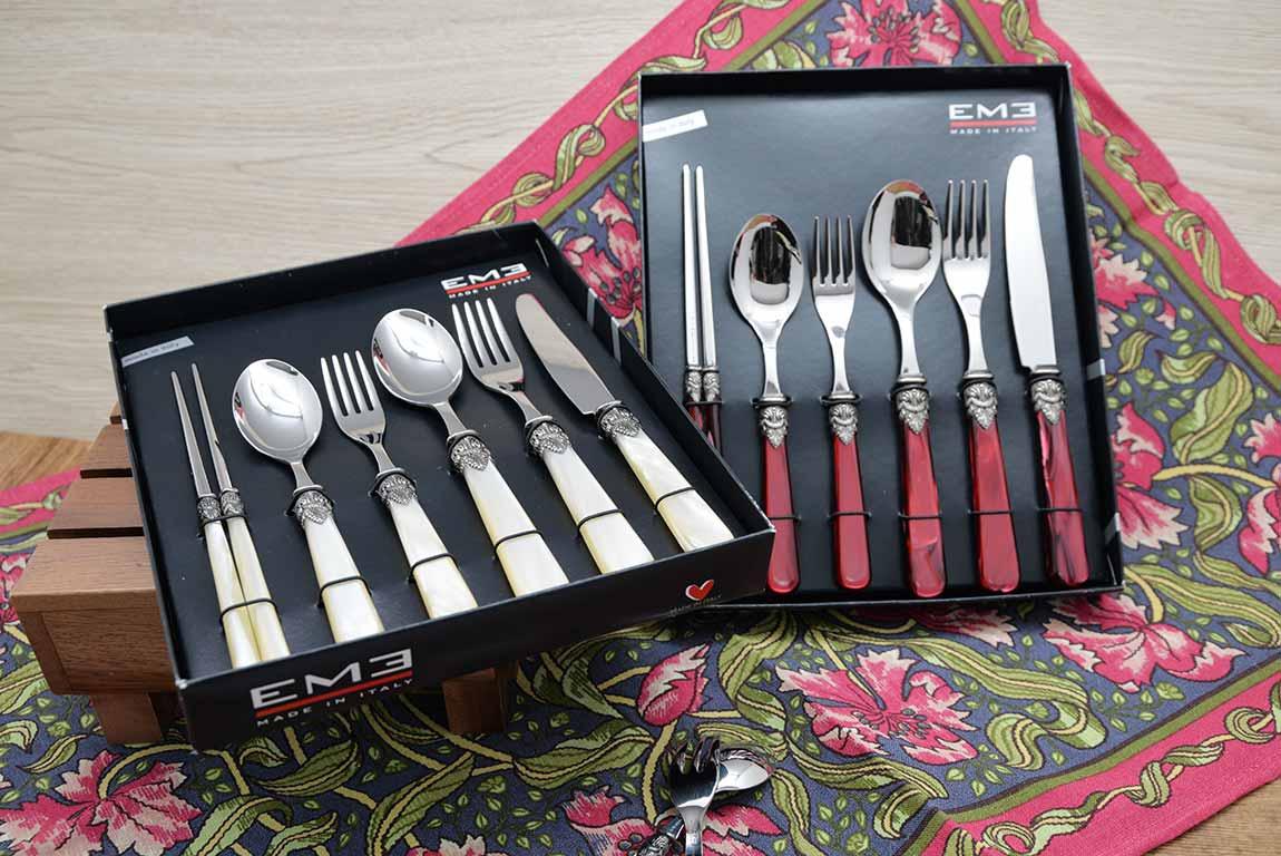 義大利EME刀叉餐具精選6件個人套組-主餐刀+叉+匙、點心刀+匙、筷子