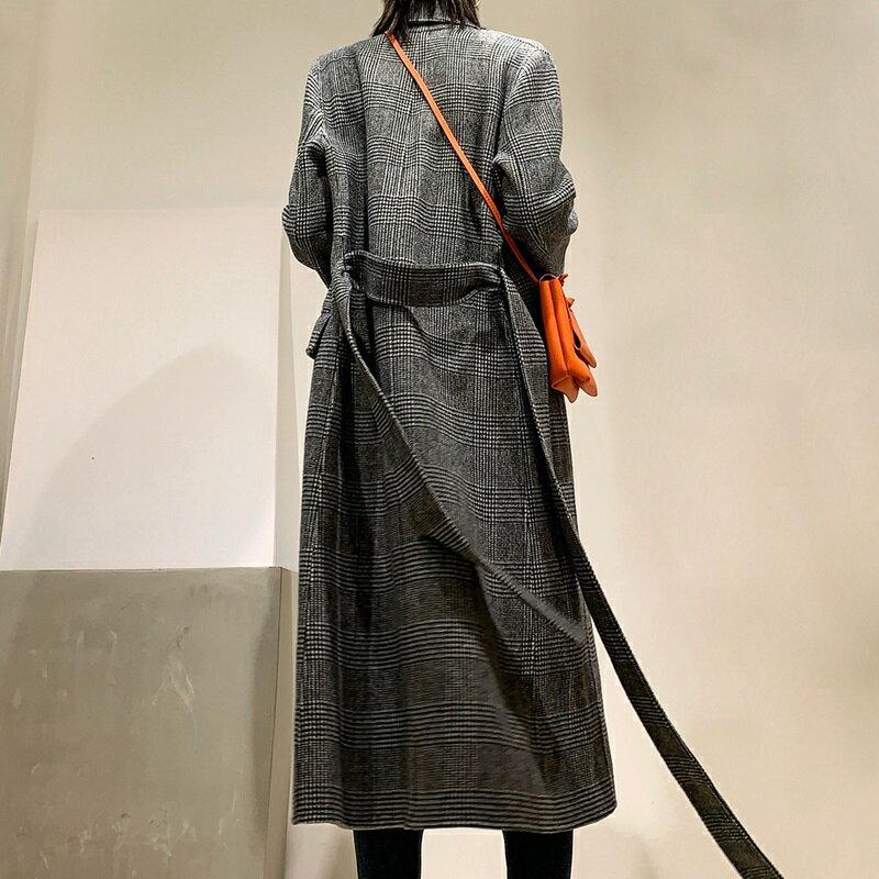 毛呢大衣羊毛外套-雙排扣格紋繫帶長版女外套73wb25【獨家進口】【米蘭精品】 2