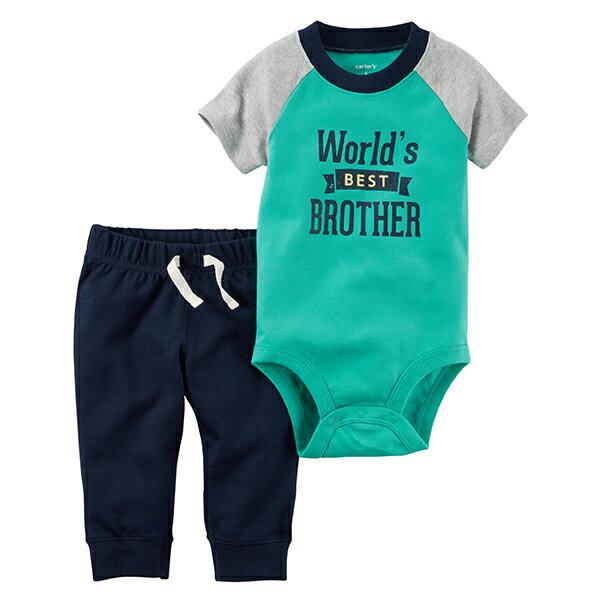 YODEE 優迪嚴選:Carter'sCarters美國童裝套裝短袖包屁衣二件組長褲圓領綠色藍色3M6M9M12M18M24M