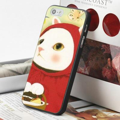 [機殼喵喵] Apple iPhone 4S 4G 4 i4 iP4 手機殼 外殼 客製化 水印工藝 WZ153 甜蜜貓 紅帽貓