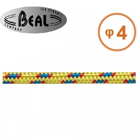 Beal  輔助繩/普魯士繩 4mm Cordelettes 黃色 C04 每單位公尺