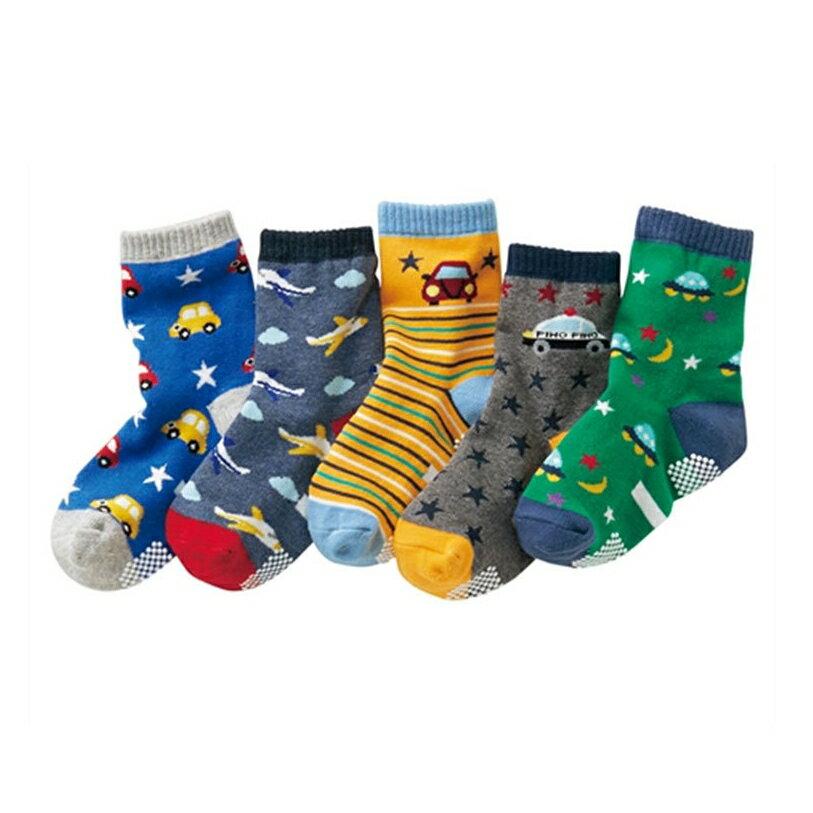 (5雙一組) 汽車星際防滑膠點中筒襪 中短襪 襪子 童襪 男童 中童 小童 兒童 橘魔法 現貨 童裝【p0061223533384】