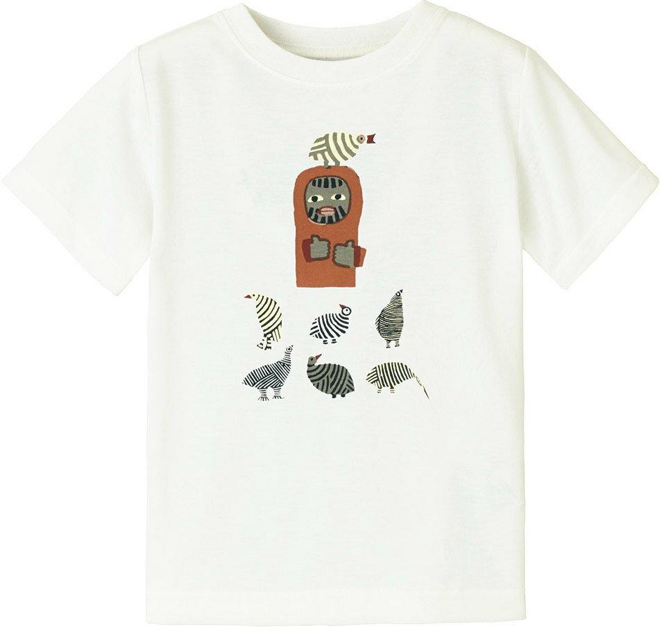 [ Mont-Bell ] 兒童排汗短T/幼童排汗衣 Wickron 1114268 WT 鳥與山男 白