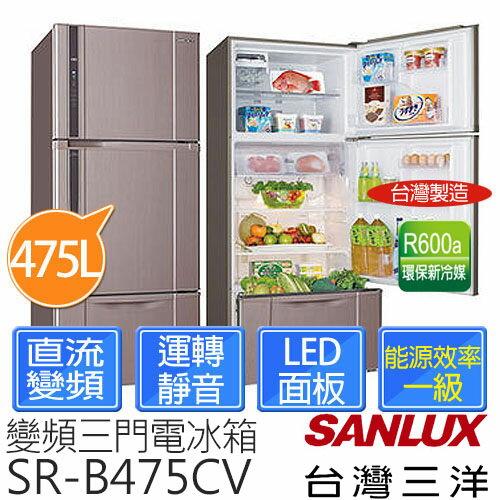 <br/><br/>  【台灣三洋 SANLUX】475L 三門直流變頻冰箱 SR-B475CV<br/><br/>
