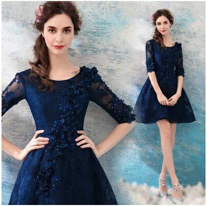 天使嫁衣【AE1616】深藍色圓領中袖立體花片完美顯瘦短禮服˙預購訂製款