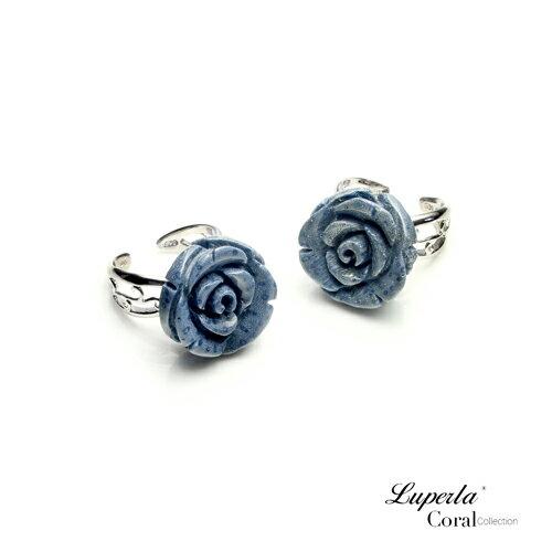 大東山珠寶 深海玫瑰 珍貴天然深海藍珊瑚純銀戒指 1