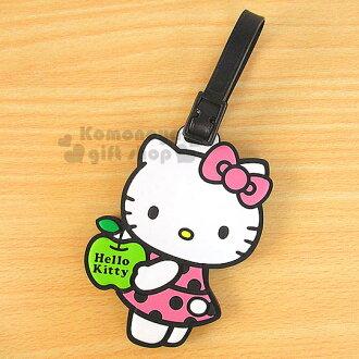 〔小禮堂〕Hello Kitty 造型橡膠行李箱姓名吊牌《白.側站.拿蘋果》