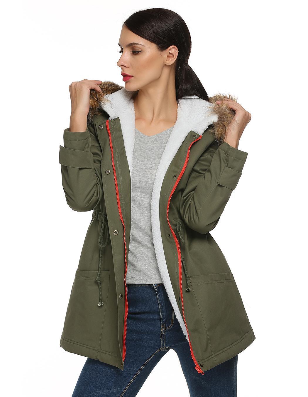 Women Zipper Hooded Warm Faux Fur Long Coat Outwear 4
