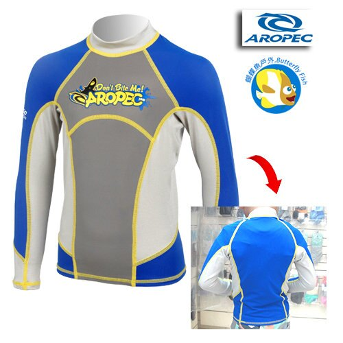 Aropec 兒童長袖水母衣(防曬衣) 飛魚 藍;長袖泳衣;Rush Guard ;蝴蝶魚戶外