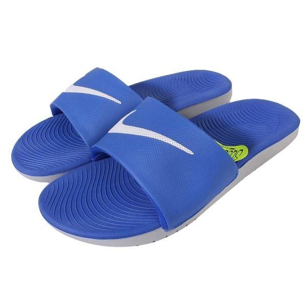 NIKE KAWA SLIDE GS 拖鞋 童鞋 止滑 防水 藍 白 灰 【運動世界】 819352-400