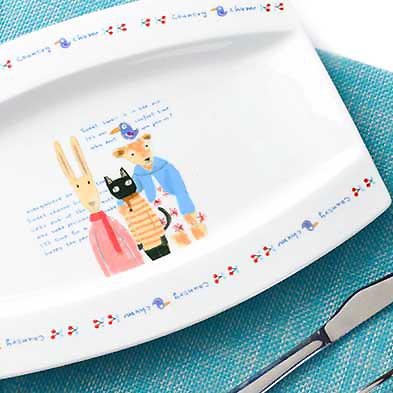 《波卡小姐》皇家白瓷牛排大餐盤!創意美式手繪款喵星人限量點心盤. 義大利麵盤子 / 可愛貓咪長型餐盤餐具 / 居家擺設裝飾品 (現+預)