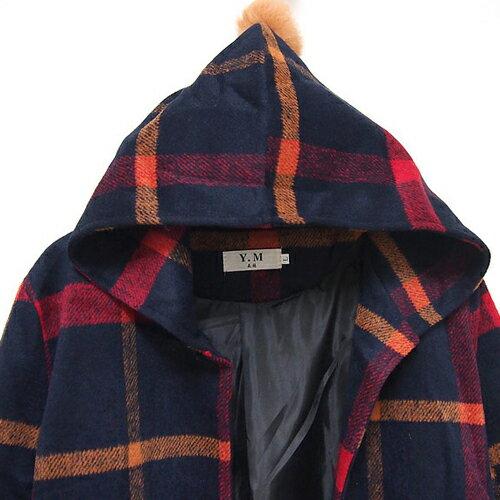 外套 - 英倫風翻領格子毛呢連帽毛球大衣外套【29214】藍色巴黎《2色》現貨 + 預購 2