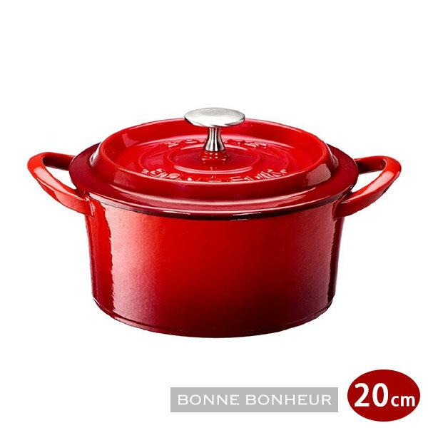 日本進口BONNE BONHEUR琺瑯鑄鐵鍋20cm紅/黑 0