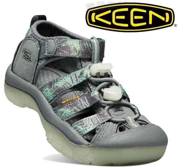 KEEN涼鞋運動涼鞋護趾涼鞋拖鞋NewportH2童款1018265灰印花台北山水