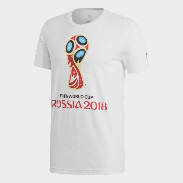AdidasFIFAWORLDCUPEMBLEMTEE男裝上衣短袖足球休閒世界盃世足賽白【運動世界】CW2088