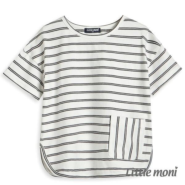 Littlemoni簡約條紋廓形上衣-白色