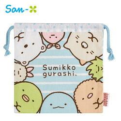 藍色款【日本正版】角落生物 日本製 束口袋 收納袋 抽繩束口袋 角落小夥伴 San-X - 705820