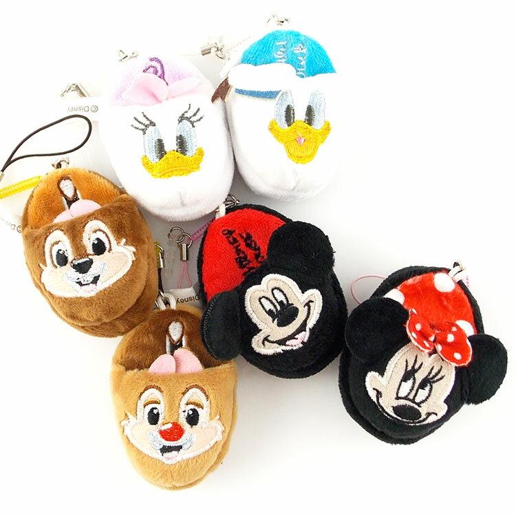 【Disney】 可愛絨毛拖鞋造型耳機防塵塞擦拭布-米奇/米妮/唐老鴨/黛西/奇奇/蒂蒂
