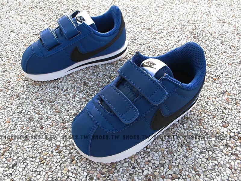 《下殺6折》Shoestw【904763-402】NIKE CORTEZ BASIC 阿甘鞋 尼龍 黏帶 深藍黑 小童鞋【SS感恩加碼 | 單筆滿1000元結帳輸入序號『SSthanks100』現折100元】