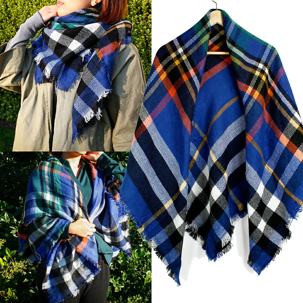 Women Plaid Scarf Tartan Wrap Lattice Large Warm Cozy Blanket Soft Shawl Checked Winter Scarfs for Women 5