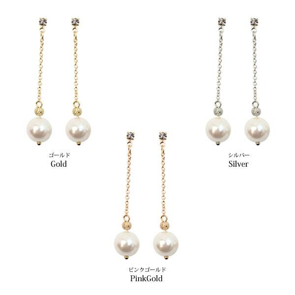 SAYAKA 日本飾品專賣:【SAYAKA日本飾品專賣】日本製造-垂鍊珍珠耳環(約1.7CM)