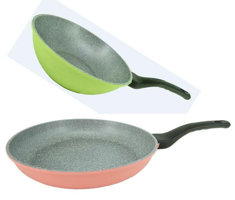 韓國Ecoramic鈦晶石頭抗菌不沾鍋 28cm 綠色中深鍋/ 28cm 幸福粉色 平底鍋  無附鍋蓋】