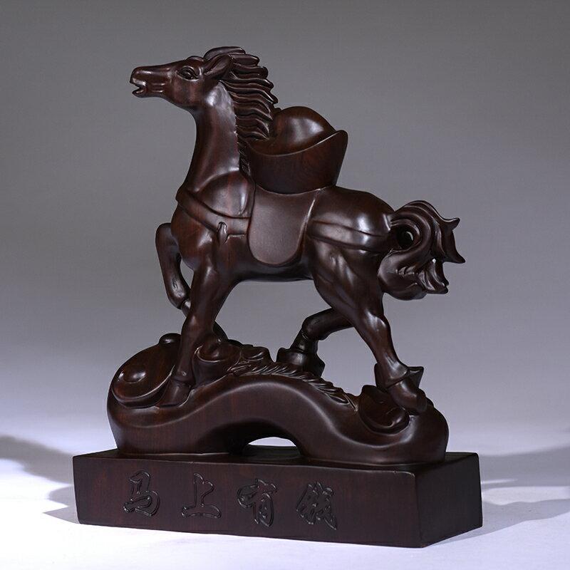 黑檀木雕馬上有錢擺件十二生肖招財馬家居辦公室裝飾品紅木工藝品