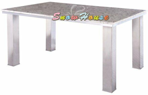 ╭☆雪之屋居家生活館☆╯1013-01 A092 2cm大理石面餐桌/飯桌/電鍍框/不鏽鋼腳