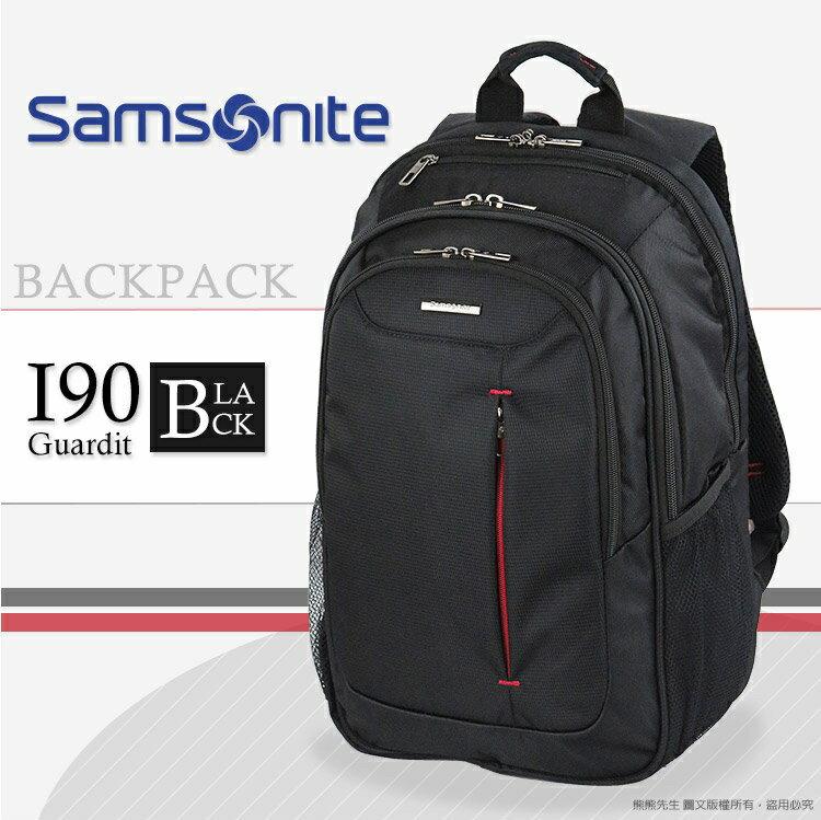 《熊熊先生》人氣熱銷7折 Samsonite新秀麗 大容量I90 後背包 GUARDIT SPL系列 190*003 可插掛拉桿 15.6吋 透氣背帶