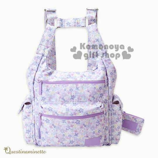 〔小禮堂〕Hello Kitty 兩用媽媽後背包《紫白.大臉.花朵滿版》附票卡零錢包