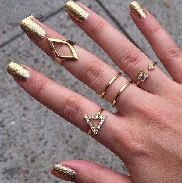 PS Mall 鑲鑽箭頭菱形三角形關節5五件套裝戒指【G2358】