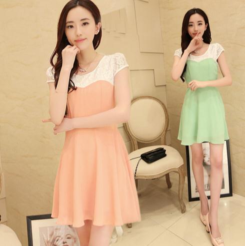 甜美優雅風春夏  雪紡蕾絲拼接連身裙 洋裝 送腰帶    韓風衣舍
