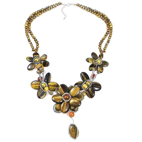 Brown Tiger Flower w Silver Beads .925 Silver Necklace 0